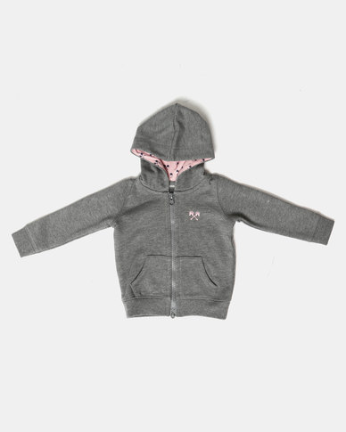 Parental Instinct Full Zip Hoody Grey Marl/Pink