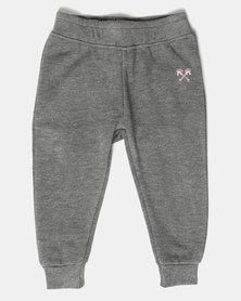 Parental Instinct Fleece Pants Grey Marl/Pink