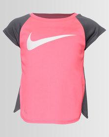 Nike NKG DriFit Mesh Back Raglan Tunic Pink