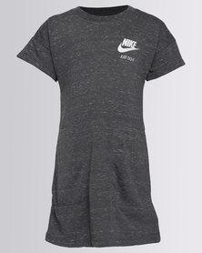 Nike NK Girls Gym Vintage AOP Short Sleeve Dress Grey