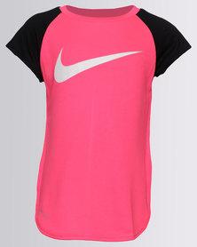 Nike NK Girls Dri-Fit Mesh Back Raglan Tunic Racer Pink