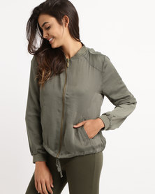 Legit Satin Fatigue Bomber Jacket Fatigue Green