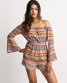 Legit Off The Shoulder Long Sleeve Playsuit Multi