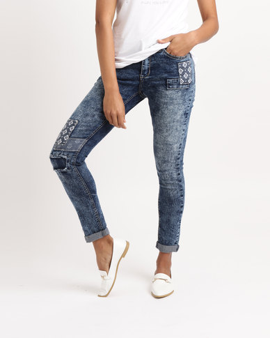 0e319bfc6b87 Legit Patch Detail Skinny Jeans Ink Blue