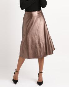 Legit Flare PU Skirt Bronze