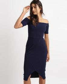 Legit Off The Shoulder Bodycon Dress With Diagonal Skirt Detail Blue
