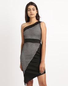 Legit One Shoulder Mesh Colour Block Bodycon Dress Black
