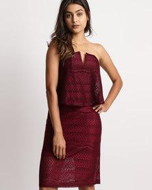 Legit Strapless Frill Lace Dress Plum