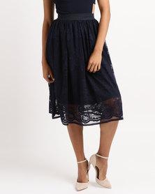 Legit Lace Mesh Flare Skirt Blue
