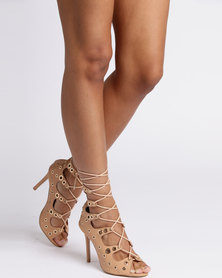 Legit Lace Up Cage Peeptoe Heel with Eyelets Natural
