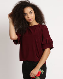 Utopia Slinky Ruffle Top Red