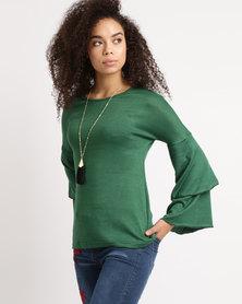 Utopia Flare Sleeve Cut n Sew Top Green