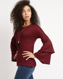 Utopia Flare Sleeve Cut n Sew Top Burgundy