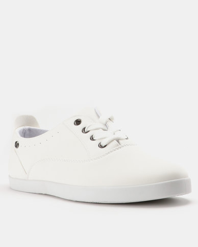 Pierre Cardin PU Lace Up Plimsoll Sneakers White
