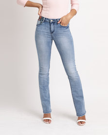 Sissy Boy Axel Mid Rise With Embroidery Bootleg Jeans Light Blue