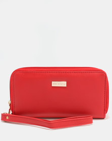 Bossi PU Zip Around Wallet With Two Zips Red