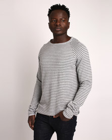 Deacon Emit Knit Crew Neck Jumper Grey Marl