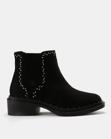 Utopia Stud Gusset Boots Black
