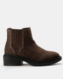 Utopia Stud Gusset Boots Taupe
