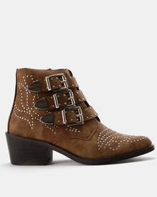 Utopia Stud Western Boots Camel