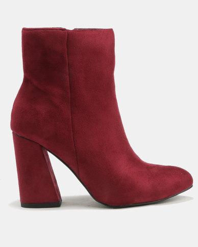 Utopia Flared Block Heel Boots Burgundy