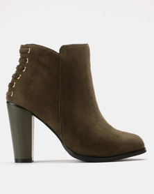 Utopia Back Lace Heel Boots Olive