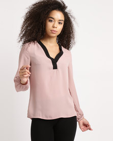 Utopia Georgette Blouse With Black Tipping Pink