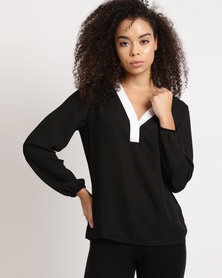 Utopia Georgette Blouse With White Tipping Black