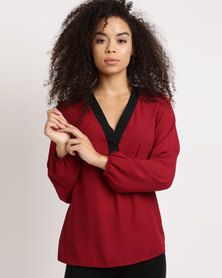 Utopia Georgette Blouse With Black Tipping Burgundy