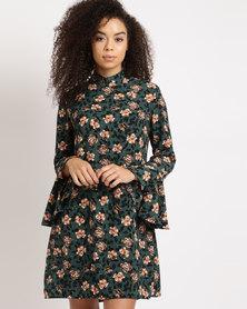 Utopia Ruffle Sleeve Tunic Dress Green Floral Printed