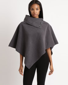 cath.nic By Queenspark Knitted Poncho Coat Charcoal