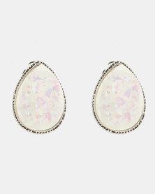 Lily & Rose Teardrop Statement Stud Earrings Silver-tone
