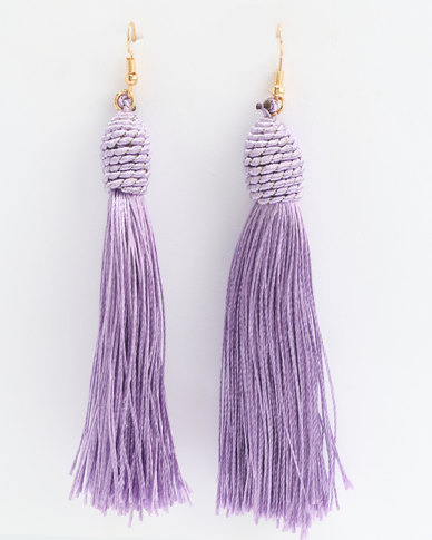 Lily & Rose Statement Tassel Earrings Lilac