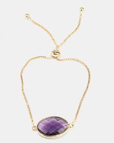 Lily & Rose Purple Stone Bracelet Gold-Tone