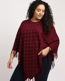 Queenspark Plus Beaded Poncho Knitwear Style Burgundy