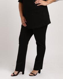 Queenspark Plus Zip Trim Pull On Knit Pants Black