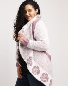 Queenspark Plus Fluffy Design Knitwear Pink