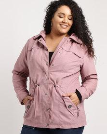 Queenspark Plus Woven Suede Jacket Pink