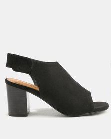 Utopia Peep Toe Block Heels Black