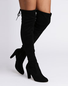 Utopia Over The Knee Heeled Boots Black