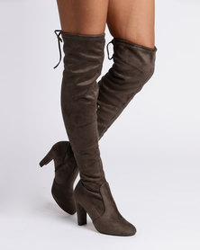 Utopia Over The Knee Heeled Boots Olive