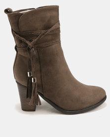 Utopia Stack Heel Boots Olive