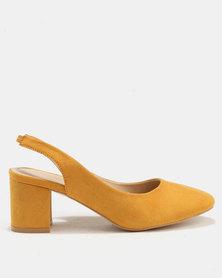 Utopia Block Heel Slingbacks Mustard