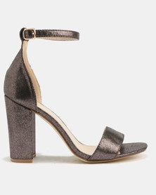 Utopia Metallic Heel Sandals Pewter