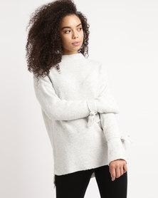 YAYA Strap Cuffs Sweater Grey