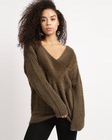 YAYA Wide Double V Sweater Bronze