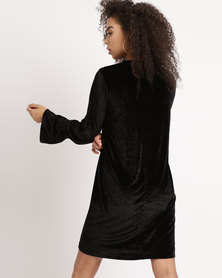 YAYA Velour Dress Black