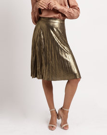 YAYA Shiny Plisse Skirt Bronze