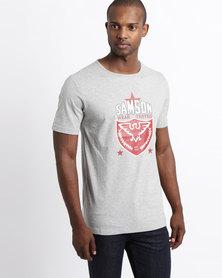 Samson Eagle Short Sleeve Logo T-Shirt Grey Melange