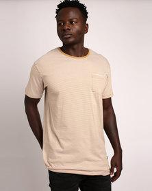 Silent Theory Stripe Pocket T-Shirt Beige